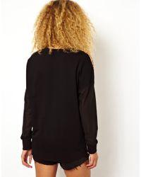 ASOS Black Sweatshirt with Woven Front in Tribal Leopard