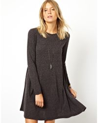 ASOS Pink Swing Dress in Nepi with Long Sleeves
