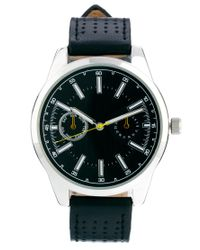 ASOS Black Watch with Perforated Leather Strap for men