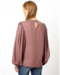ASOS Pink Top With Balloon Sleeve And Gathered Detail