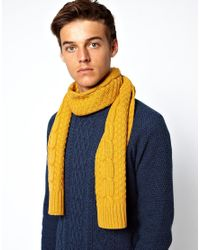 ASOS Yellow Cable Scarf for men