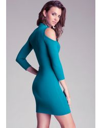 Bebe Green Cold Shoulder Keyhole Dress