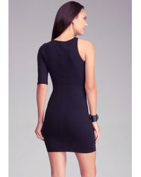 Bebe Purple Cutout One Sleeve Bodycon Dress