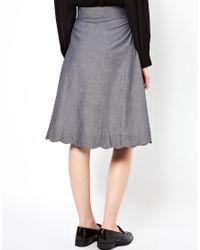 Bolzoni & Walsh Gray Scalloped Pocket Skirt
