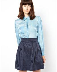 Bolzoni & Walsh Blue Pleat Sleeve Silk Shirt
