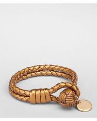 Bottega Veneta Metallic Oro Bruciato Intrecciato Nappa Bracelet