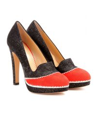 Charlotte Olympia Red Lou Lou Suede Platform Pumps