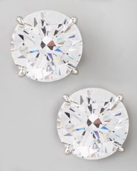 Fantasia by Deserio | White Round Cubic Zirconia Stud Earrings 9mm | Lyst