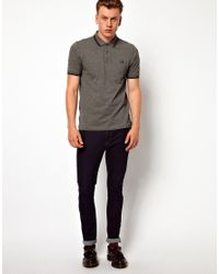 Fred Perry Gray Twin Tip Polo in Slim Fit Polo for men