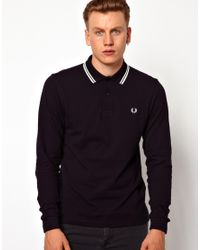 Fred Perry Blue Long Sleeve Twin Tipped Polo for men