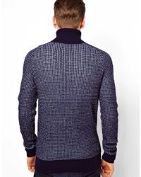 Fred Perry Blue Two Tone Waffle Roll Neck Jumper for men
