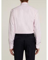 Hardy Amies Pink Oxford Plain Long Sleeve Shirt for men