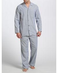 John Lewis Gray Brushed Cotton Stripe Pyjamas for men