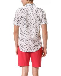 Marc By Marc Jacobs White Anderson Flower Short Sleeve Sport Shirt for men