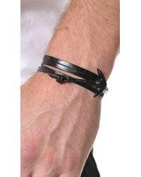Miansai | Black Enamel Anchor Leather Wrap Bracelet for Men | Lyst