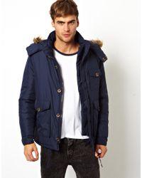 Native Youth Blue Padded Parka Jacket for men
