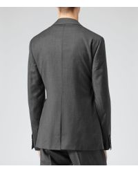 Reiss Gray Fairline B Brushed Herringbone Blazer for men