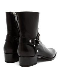 Saint Laurent Black Polished Leather Rock Boot for men