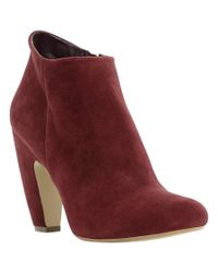 Steve Madden Red Panelope Suede Ankle Boots