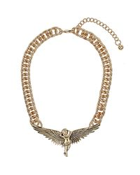 TOPSHOP - Metallic Gold Cherub Necklace - Lyst