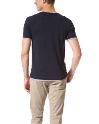 Vince Blue Double Layer Short Sleeve Henley for men
