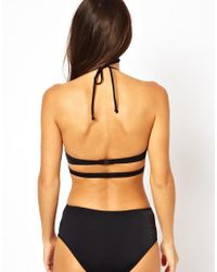 ASOS - Black Strappy Cut Out Swimsuit - Lyst