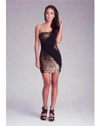 Bebe Metallic One Shoulder Sequin Dress