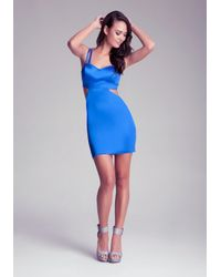 Bebe Blue Cut Away Mid Dress