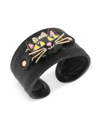 Betsey Johnson - Black Cat Cuff Bracelet - Lyst