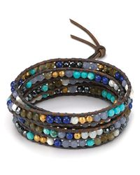 Chan Luu Gray Five Wrap Leather Bracelet with Blue Mirage Beads