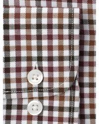 John Lewis Brown Brushed Cotton Gingham Check Long Sleeve Shirt for men