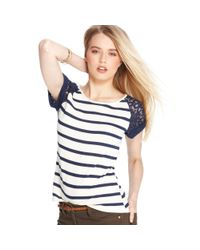 Maison Jules - Blue Short Sleeve Scoop Neck Lace Striped - Lyst