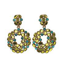 Oscar de la Renta - Metallic Double Oval Cluster Drop Earrings - Lyst