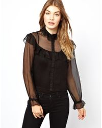Traffic People | Black Silk Frill Blouse | Lyst