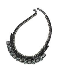 Juicy Couture - Black Tone Chain and Glass Pearl Rhinestone Frontal Necklace - Lyst