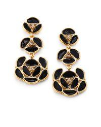 kate spade new york | Metallic Enamel Pansy Drop Earrings | Lyst