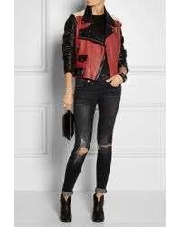 Acne Studios - Merci Colorblock Textured-leather Biker Jacket - Lyst