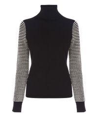 Karen Millen Black Chunky Texture Knit Sweater