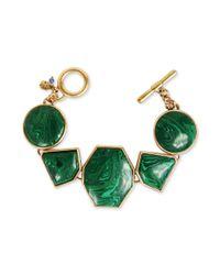 Lucky Brand | Goldtone Green Stone Flex Bracelet | Lyst