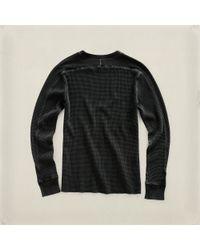 RRL Black Waffle Knit Crewneck Pullover for men