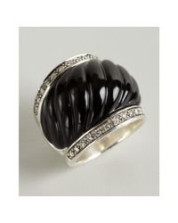 David Yurman | Metallic Onyx and Diamond Carved Cable Ring | Lyst