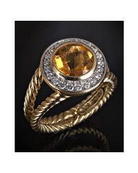 David Yurman | Metallic Diamond and Lemon Citrine Round Cut Ring | Lyst