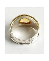 David Yurman - Metallic Gold and Silver Carved Cable Citrine Stone Ring - Lyst