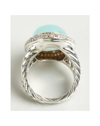 David Yurman - Metallic Sterling Silver and Aqua Chalcedony Signature Oval Diamond Ring - Lyst