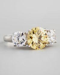 Fantasia by Deserio - White Triple-stone Cubic Zirconia Ring - Lyst