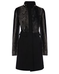 Karen Millen Black Masculine Signature Pony Coat