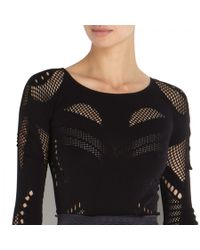 McQ - Black Mesh Panelled Stretch Jersey Top - Lyst