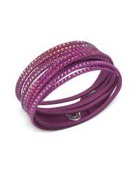 Swarovski - Purple Fuchsia Fabric Crystal Stud Wrap Bracelet - Lyst