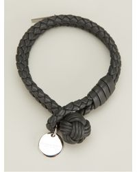 Bottega Veneta - Gray Intrecciato Leather Bracelet - Lyst