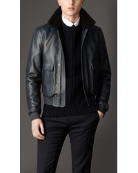 Burberry Blue Shearling Collar Leather Blouson for men